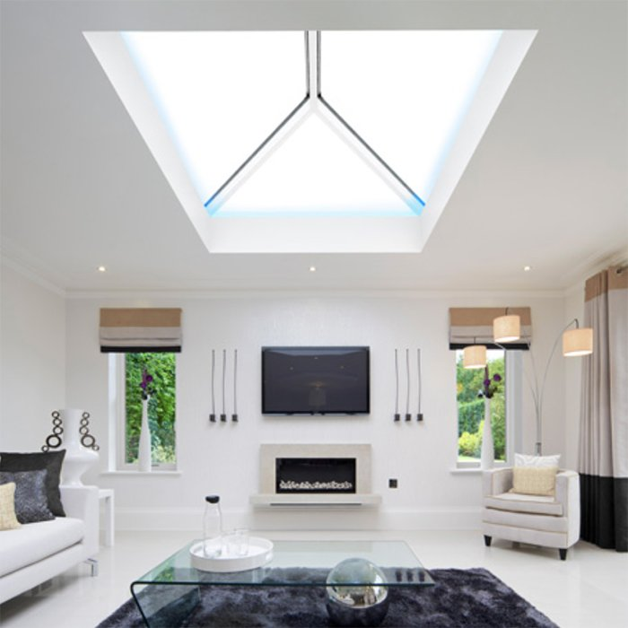 Interior style Sheerline Aluminium roof system available from Bedford Bi-folds Ltd