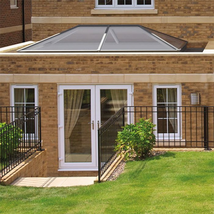 Exterior style Sheerline Aluminium roof system available from Bedford Bi-folds Ltd